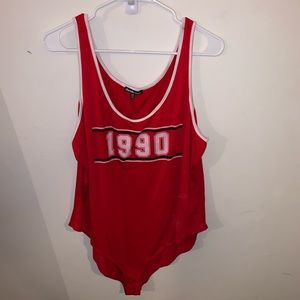 1990 Red Graphic Bodysuit